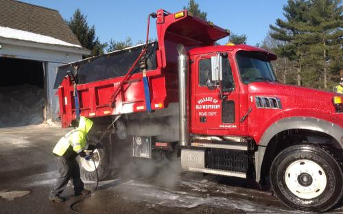 DPW Crew Cleaning Trucks